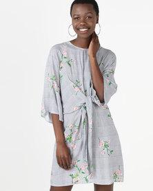 AX Paris Check Floral Dress Green