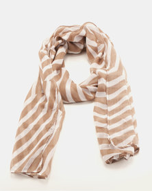 Joy Collectables Optical Scarf Ivory Brown