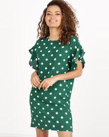 Paige Smith Frill Sleeve T-shirt Dress Emerald/Ivory Spot
