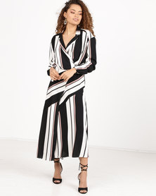Paige Smith Wrap Dress Long Sleeve Wallis Stripe Multi