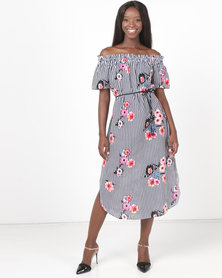 Paige Smith Off Shoulder Kaftan Dress Navy