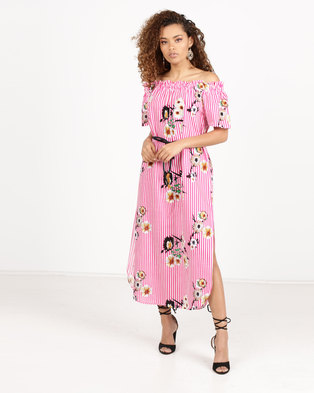 Paige Smith Off Shoulder Kaftan Floral & Stripe Dress Pink