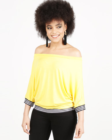 N'Joy Boatneck With Elastic Band Detail Top Yellow