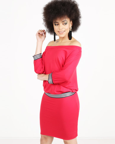 N'Joy Boatneck With Elastic Band Detail Dress Red