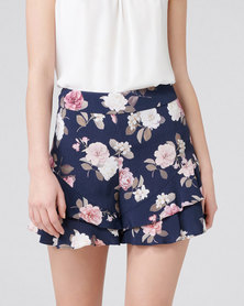 Forever New Debbi Double Ruffle Printed Short Navy Rose