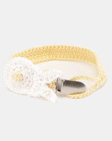 Moederliefde LiefieDiefie Crochet Dummy Clip Bunny Yellow