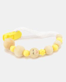 Moederliefde LiefieDiefie Wooden Beads Dummy Clip Yellow
