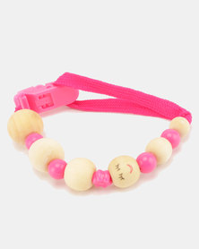 Moederliefde LiefieDiefie Wooden Beads Dummy Clip Pink