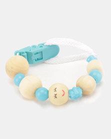 Moederliefde LiefieDiefie Wooden Beads Dummy Clip Blue