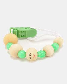 Moederliefde LiefieDiefie Wooden Beads Dummy Clip Green