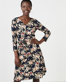 non-european® 3/4 Wraparound Dress Navy Rose