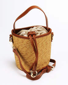 Blackcherry Bag Straw Bucket Bag Natural