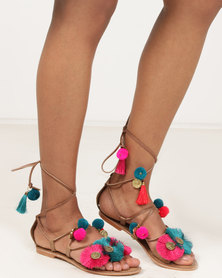 Wild Alice by Queue Leather Sandals With Tassel And Coin Trim Multi