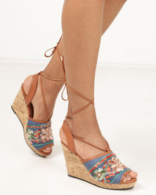 Wild Alice by Queue Wedge Sandals With Ankle Tie Brown