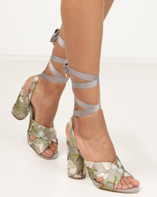 Wild Alice by Queue Cross Over Sandals With Embroidery Taupe