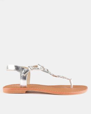 bd28d84d1a0fb8 GIA by Queue Leather Plaited Sandal Silver