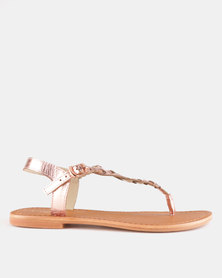 GIA by Queue Leather Plaited Sandal Rose Gold