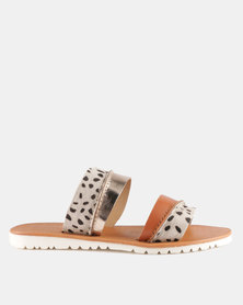 GIA by Queue Leather Double Bar Leopard Print On White Outsole Tan/Multi