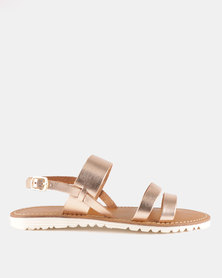 GIA by Queue Metallic Leather Sandal Rose Gold