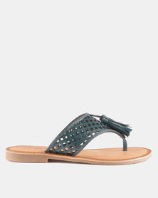 GIA by Queue Leather Tassel Trim Push In Sandal Blue