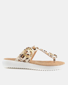 GIA by Queue Leather Toe Thong Sandal On White Outsoles Leopard