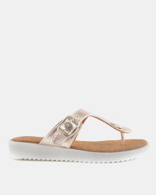 GIA by Queue Leather Toe Thong Sandal On White Outsoles Rose Gold
