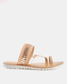 GIA by Queue Leather Toe Post Sandal On White Outsoles Nude Rose Gold