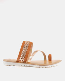 GIA by Queue Leather Toe Post Sandal On White Outsoles Tan Rose Gold