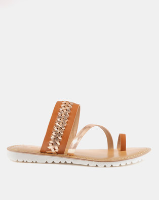 d89cd3368b2eff GIA by Queue Leather Toe Post Sandal On White Outsoles Tan Rose Gold