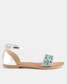 Queue Leather Closed Back Beaded Sandals Silver/Blue
