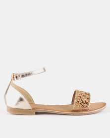 Queue Leather Closed Back Beaded Sandals Gold/Natural