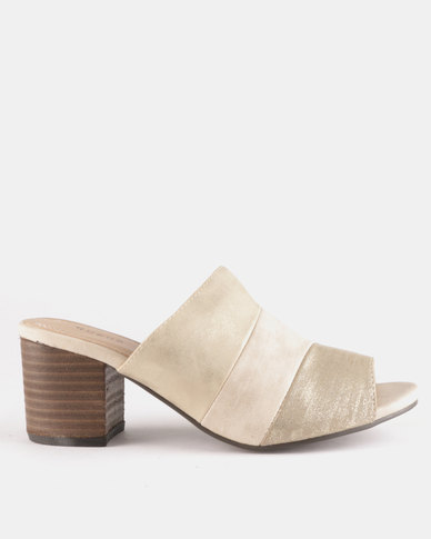 Queue Low Heeled Push In Mules Gold