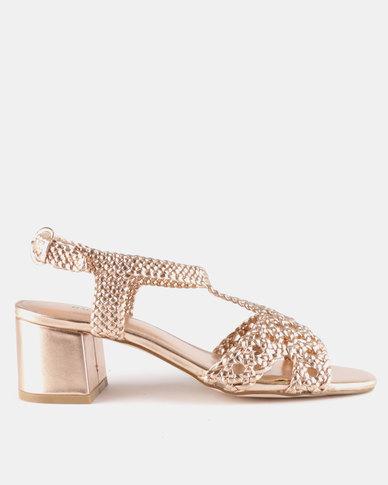 Queue Block Heel Sandals With Woven Upper Rose Gold