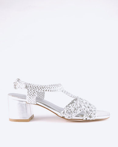 Queue Block Heel Sandals With Woven Upper Silver