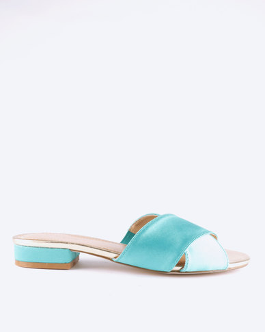 Queue Cross Over Mules On Small Heels Teal