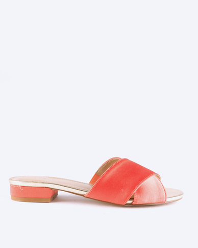 Queue Cross Over Mules On Small Heels Coral