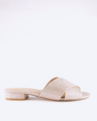 Queue Cross Over Mules On Small Heels Rose Gold