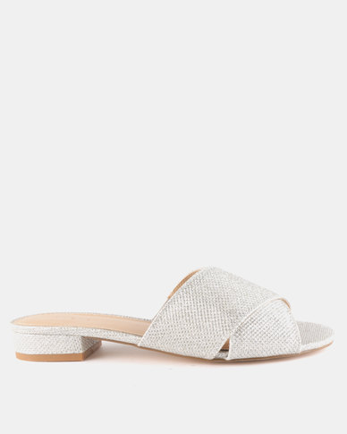 Queue Cross Over Mules On Small Heels Rose Silver