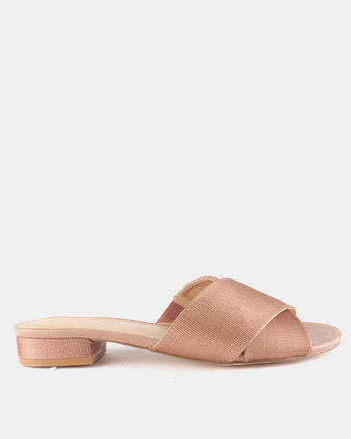 Queue Cross Over Mules On Small Heels Rose Mink
