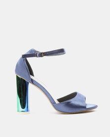PLUM Block Heel Sandals Midnight Blue