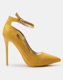 PLUM Ankle Strap Court Heels Yellow