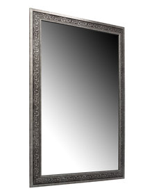 NovelOnline Wooden Ornate Framed Mirror Gunmetal Silver