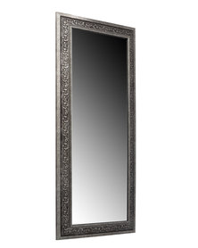 NovelOnline Wooden Ornate Framed Dress Mirror Gunmetal Silver