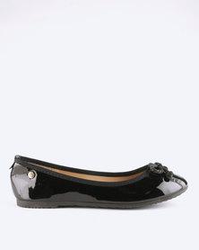 Pierre Cardin Comfort Rope Bow Ballerina Flats Black
