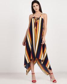 Utopia Stripe Asymmetrical Dress Navy
