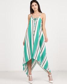 Utopia Stripe Asymmetrical Dress Emerald