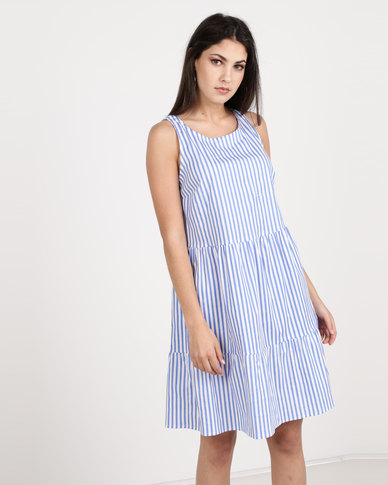 Utopia Stripe Tiered Dress Blue