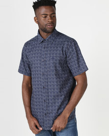 JCrew Fancy Print Short Sleeves Shirt Navy