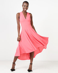 Erre V-Neck Hi-Low Hourglass Dress With Back Cut-Out Coral