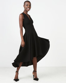 Erre V-Neck Hi-Low Hourglass Dress With Back Cut-Out Black